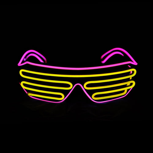 Light up EL Wire Shutter Glasses Yellow/Pink