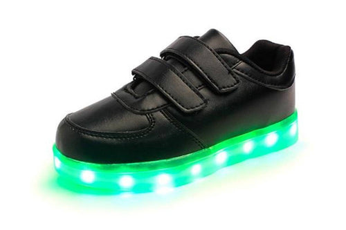LED Shoes - Flashez LED Velcro Black Shoes
