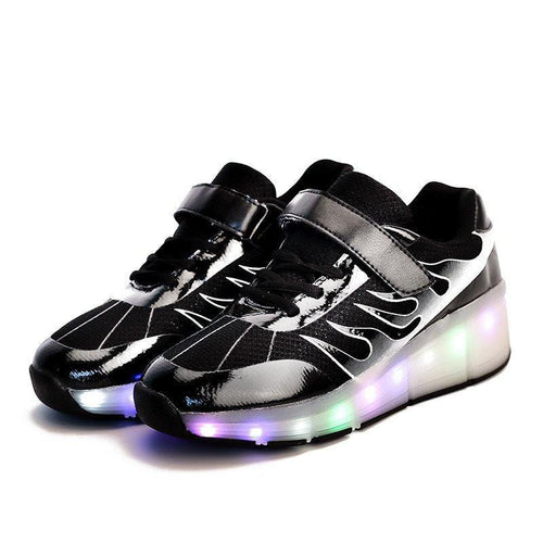 Roller Wheel Heelys - Rechargeable Black LED Roller Wheel Shoes (PRE-ORDER)