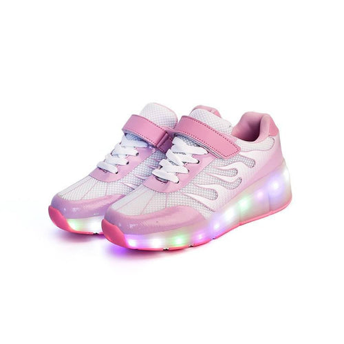 Roller Wheel Heelys - Rechargeable Pink LED Roller Wheel Shoes (Pre-order)