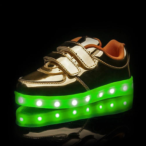 Shoes/Trainers - Flashez - Golden Velcro LED Shoes