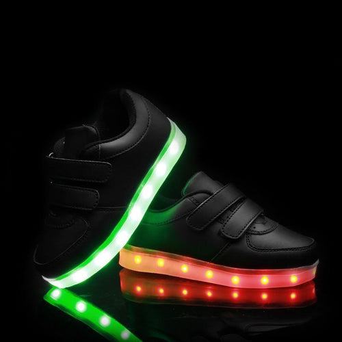 Shoes/Trainers - Flashez LED Velcro Black Shoes