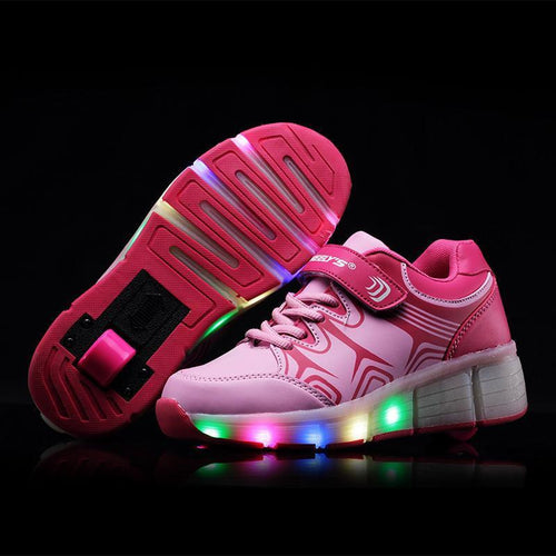 Shoes/Trainers - Flashez - Pink - Wheely Roller Shoes LED