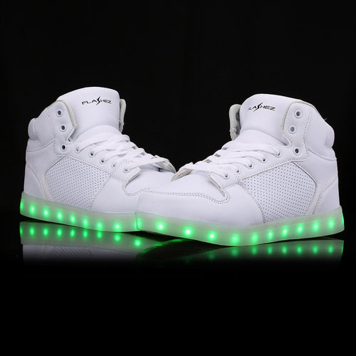 Shoes/Trainers - Flashez -  White Sonics LED High Tops