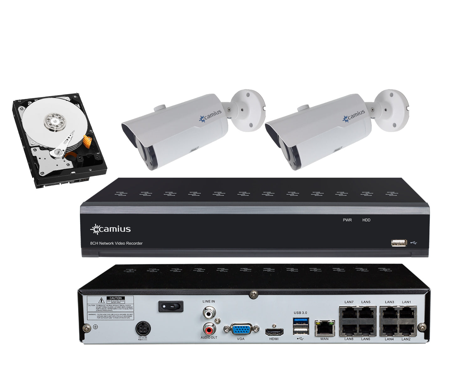 Camius 8-Channel 4K NVR PoE IP Security System w/ 4MP Motorized Zoom Bullet Cameras