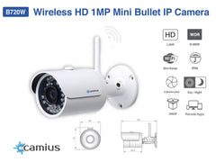 B720W 720P HD Wireless/WiFi IP Camera - ONVIF, Night Vision, Weatherproof