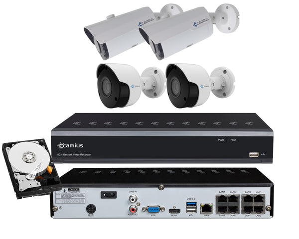 Camius Ultra HD 4K PoE 8CH IP NVR with IP Bullet 4MP Motorized Zoom 2.8-12mm, 5MP Bullet Cameras 3.6mm