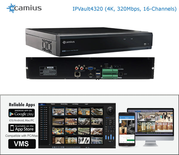 Camius 16-Channel 4K Network Video Recorder - 320Mbp - IPvault4320