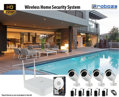 HD 720P Wireless Weatherproof 4-Channel NVR Security Camera system