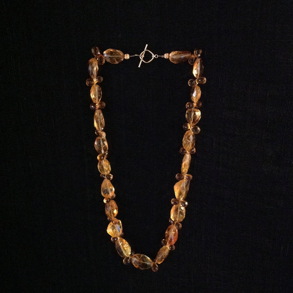 Citrine Faceted Briolettes and Ovals 14k Gold