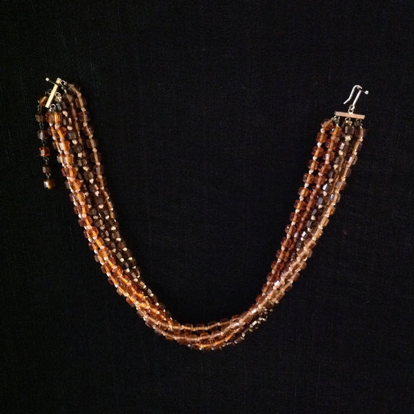 Glass Faceted Beads Amber Orange Brown