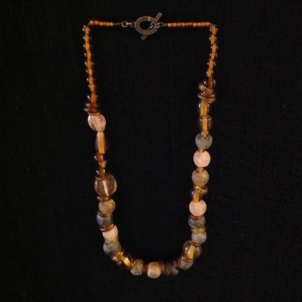 African Glass Trade Beads Amber Almost Rounds Necklace
