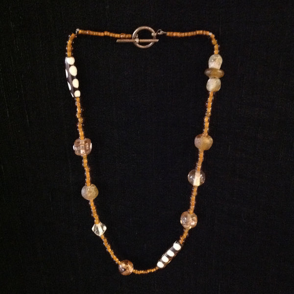 African Trade Beads Amber Bone and Glass