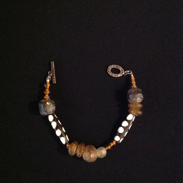 African Amber Glass Trade Beads Bone Bracelet
