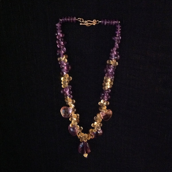 Amethyst Nuggets and Pears with Citrine Necklace
