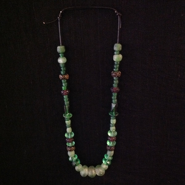 African Trade Beads Green Blue Amber Color Glass