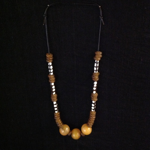 African Glass Trade Beads Bone Necklace