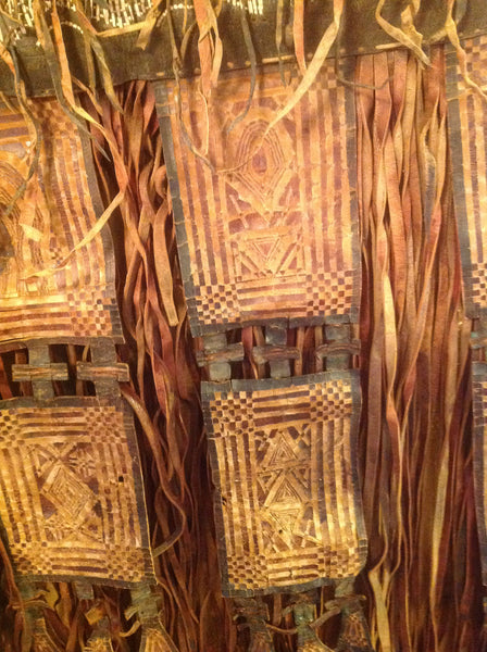 African Tuareg Straw Leather Wall Hanging