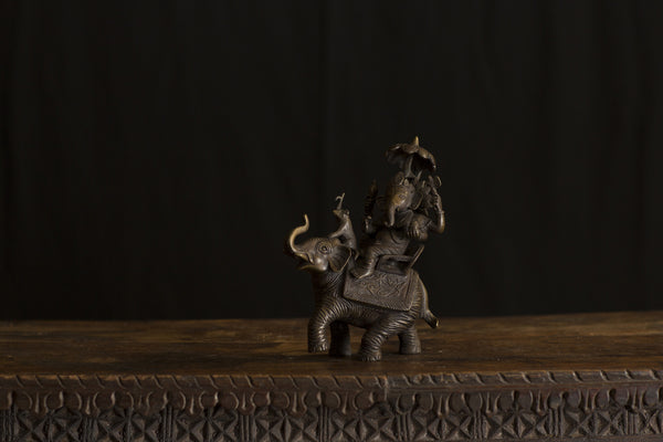 Ganesha on Elephant Purple Bronze Statue