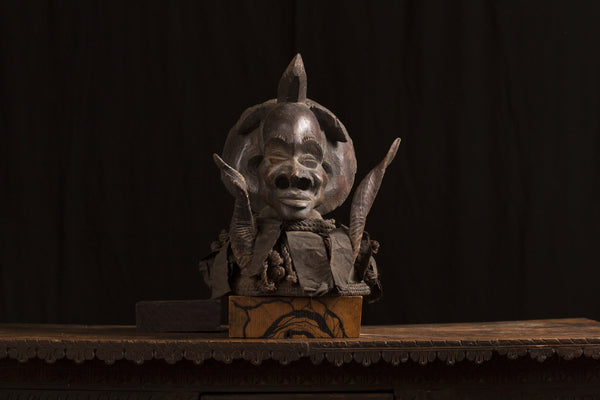 African Shaman Head with Horns
