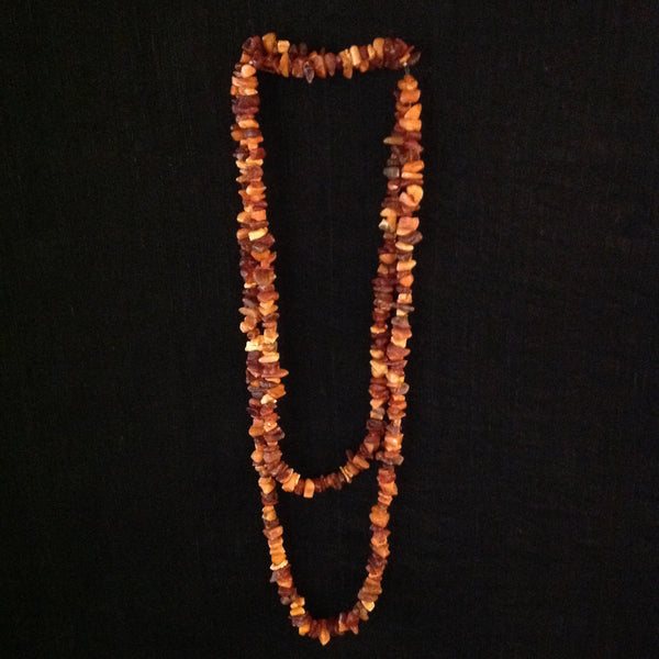 Amber Chip Long Strand Necklace
