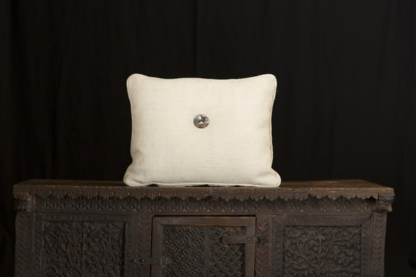 Antique Linen Hand Stamped Pillow