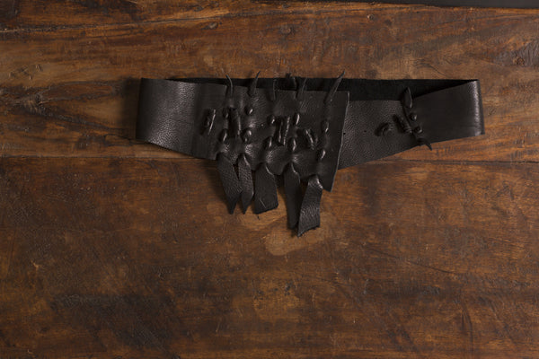 Black Leather Wrap Belt