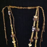 African Trade Beads Amber Spotted Bone Lariat Necklace