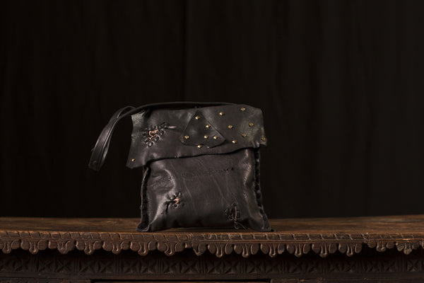 Black and Bronze Leather Bag with Studs