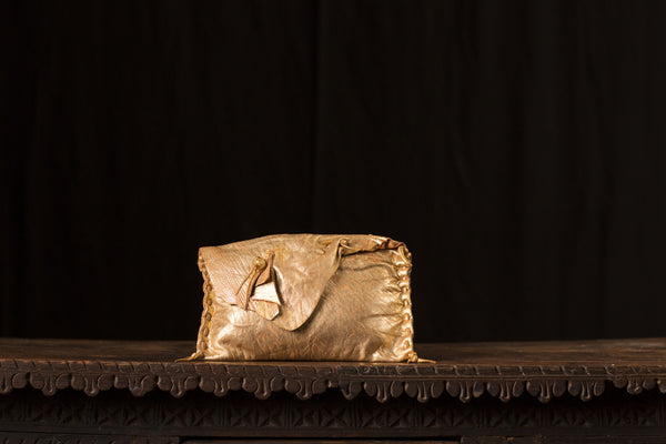 Small Gold Metallic Leather Clutch
