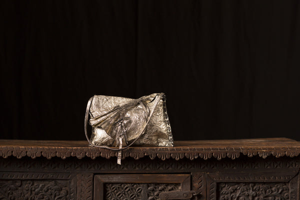 Gold Metallic Black Leather Bag & Inside Pouch