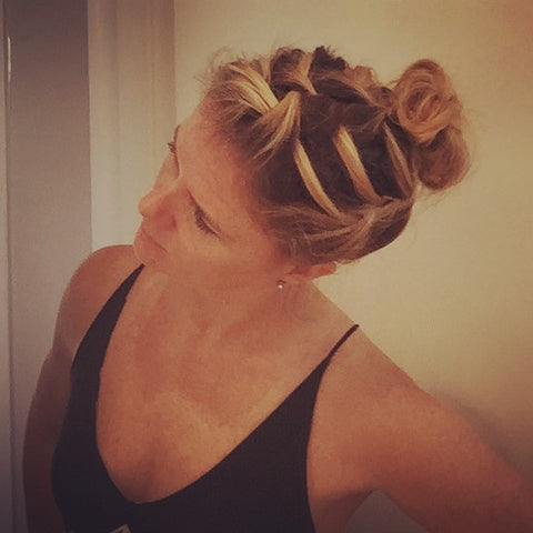 SunCare for Your Hair: SunQuist How to do a Three French Braid Messy Bun Final Side