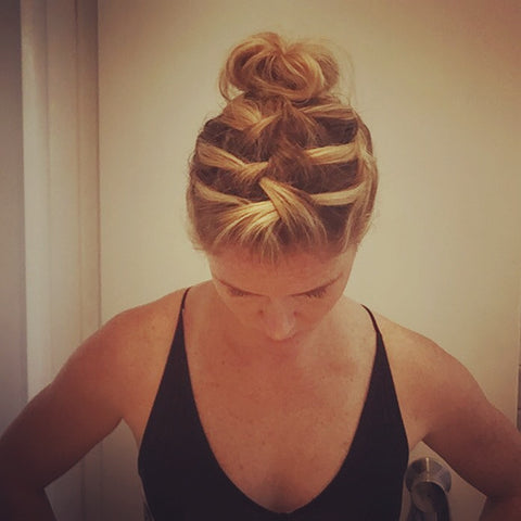 SunCare for Your Hair: SunQuist How to do a Three French Braid Messy Bun Final Top