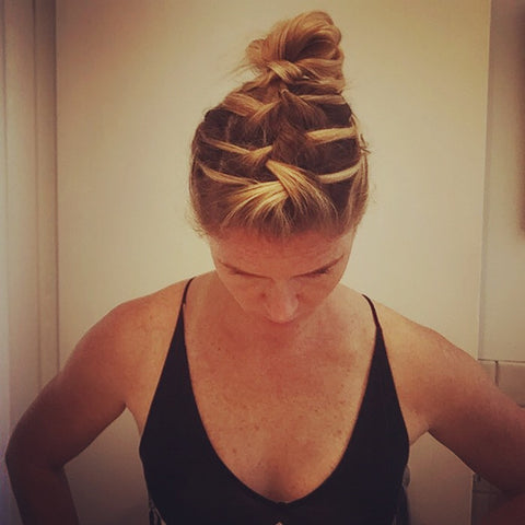 SunCare for Your Hair: SunQuist How to do a Three French Braid Messy Bun Step 19
