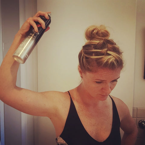 SunCare for Your Hair: SunQuist How to do a Three French Braid Messy Bun Step 20