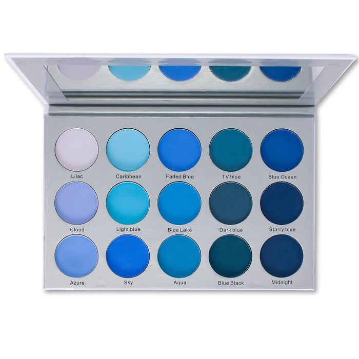 ES22 - Kara 15 Colour Smokey Blue Eyeshadow Palette