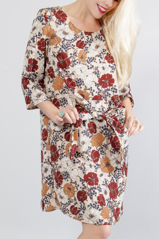 Autumn Floral Knot Dress - stylebookcloset