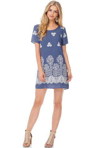 Scalloped Border Print Dress