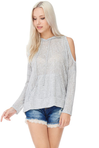 Cold Shoulder Hooded Sweatshirt
