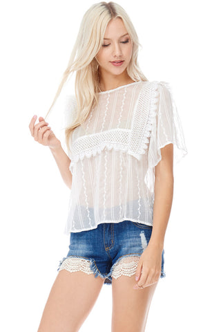 See-Through Embroidered Blouse with Crochet Detail