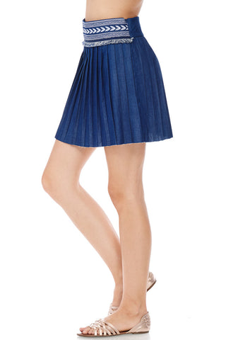 Embroidered & Fray Detail Pleated Mini Skirt