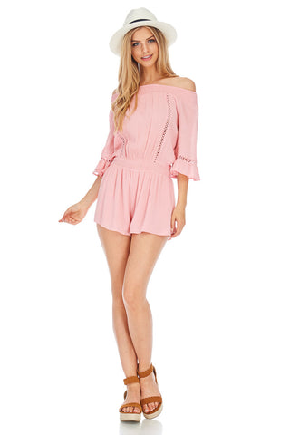Off The Shoulder Pink Romper - stylebookcloset
