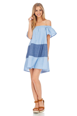 Denim Blue Off The Shoulder Dress - stylebookcloset