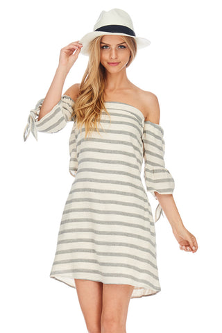 Off The Shoulder Stripped Dress - stylebookcloset