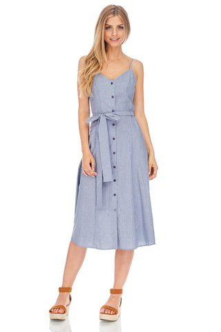 Button Up Blue Pin Stripe Strappy Dress - stylebookcloset