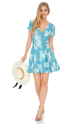 White Floral Aqua Wrapped Dress - stylebookcloset