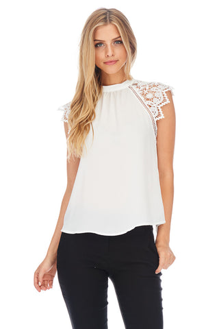 Lace Shoulder Sleeveless Top - stylebookcloset