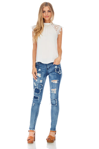 SL-Patchwork Distressed Skinny Jeans-Limited Edition - stylebookcloset