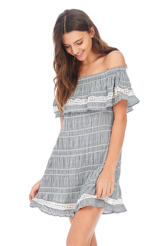 Off Shoulder Layered Shirred Dress - stylebookcloset