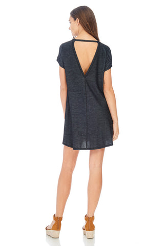 Open-Back Charcoal Dress - stylebookcloset